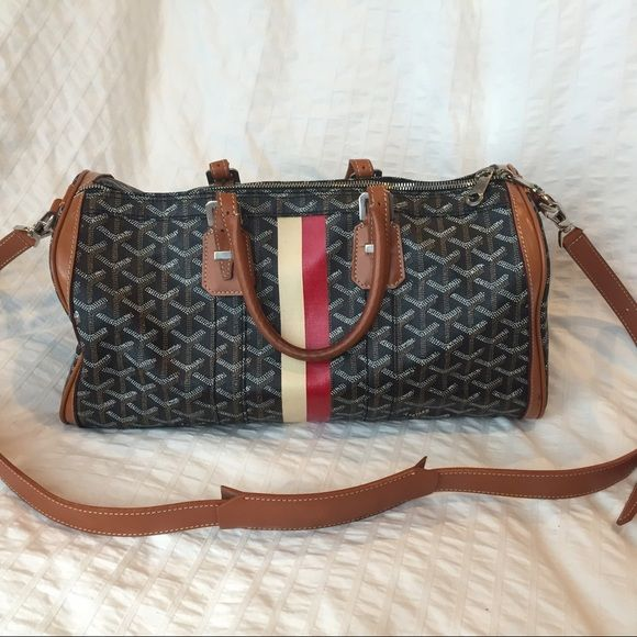 Goyard custom duffle Rare Goyard croisiere 35 with custom painted stripe and  extra cross body strap. Some light wear on the handles but otherwise  perfect ... e4b082a7a3