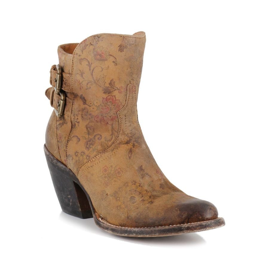 Lucchese Women's Catalina Floral Print Buckle Shorty Boots