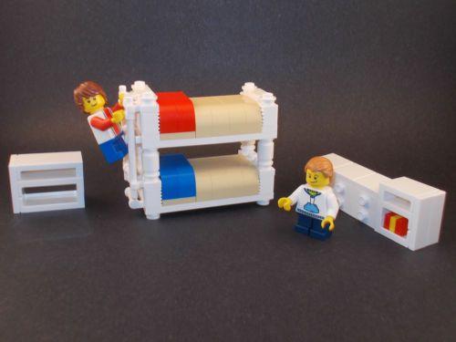 Lego Furniture Kids Bedroom Set w Bunk Bed Dresser Shelving Town ...