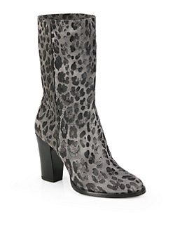 Jimmy Choo - Music Leopard-Print Suede Mid-Calf Boots