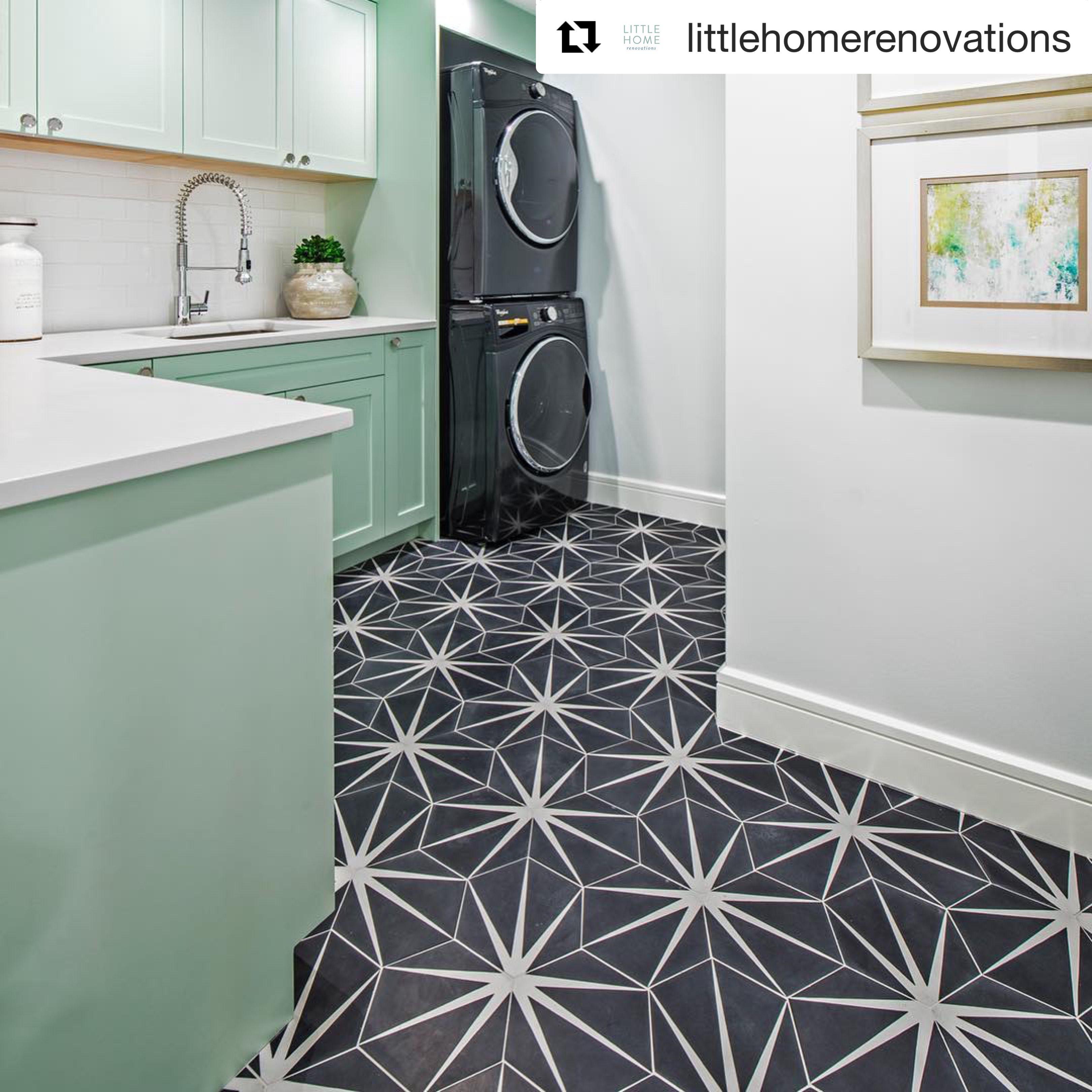 Trident Black Sample Geometric Tile Cement Tile Patterned