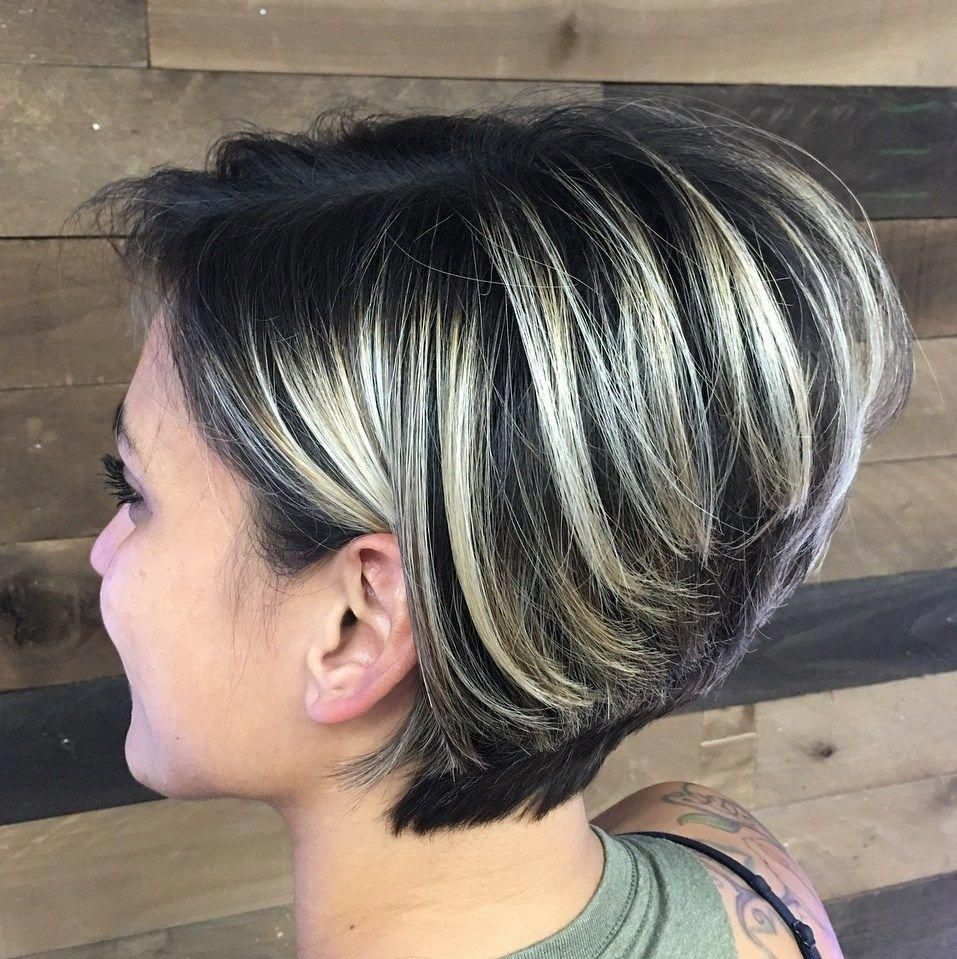 Stacked Black Pixie Bob With Blonde Highlights Shorthairstyles Thick Hair Styles Short Blonde Hair Dark Hair With Highlights
