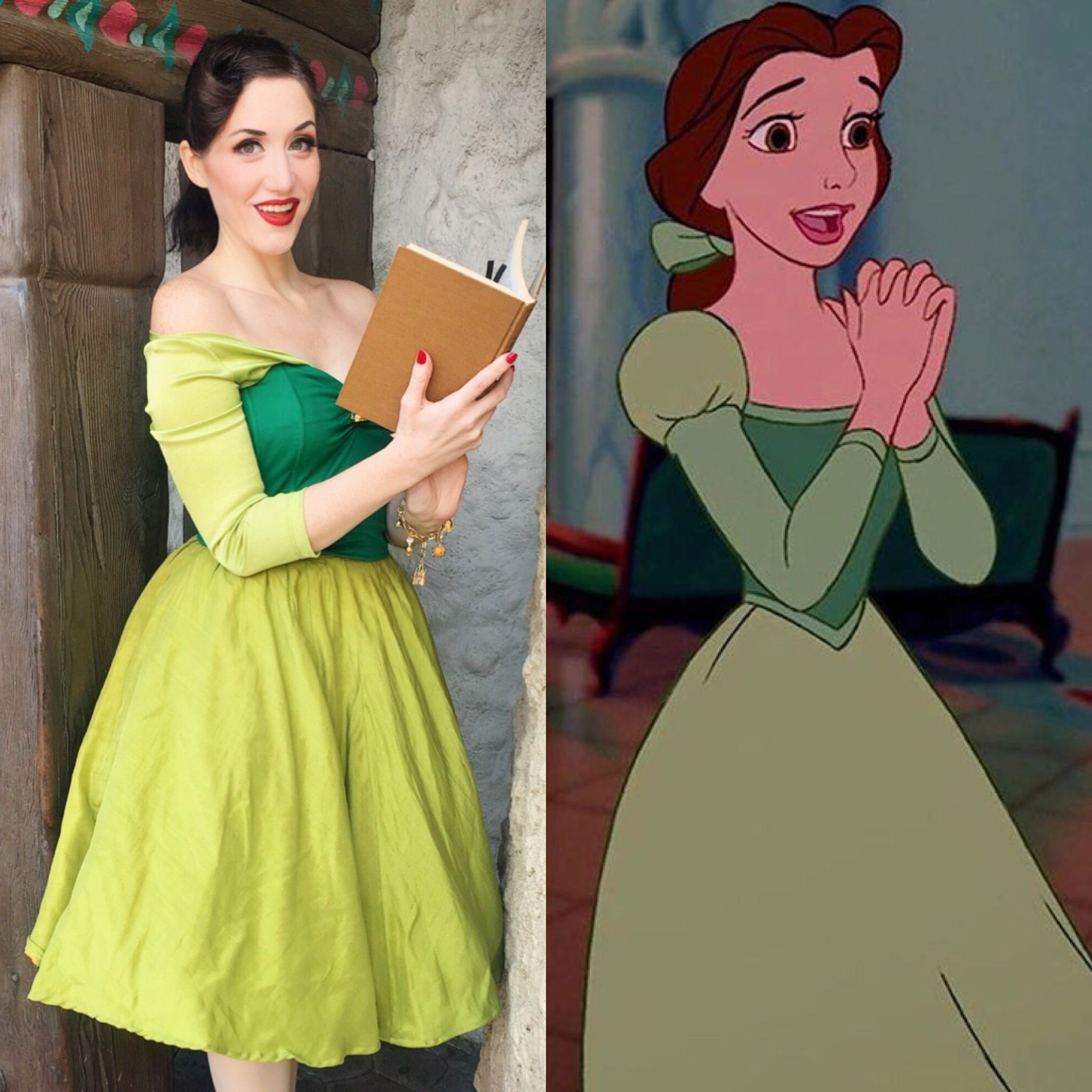 green library dress belle beauty and the beast disneybound