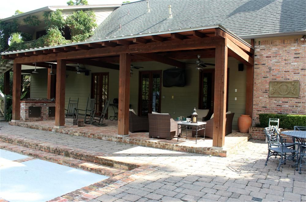 Image of covered rustic porch with post 3910 boden lane for Rustic covered decks