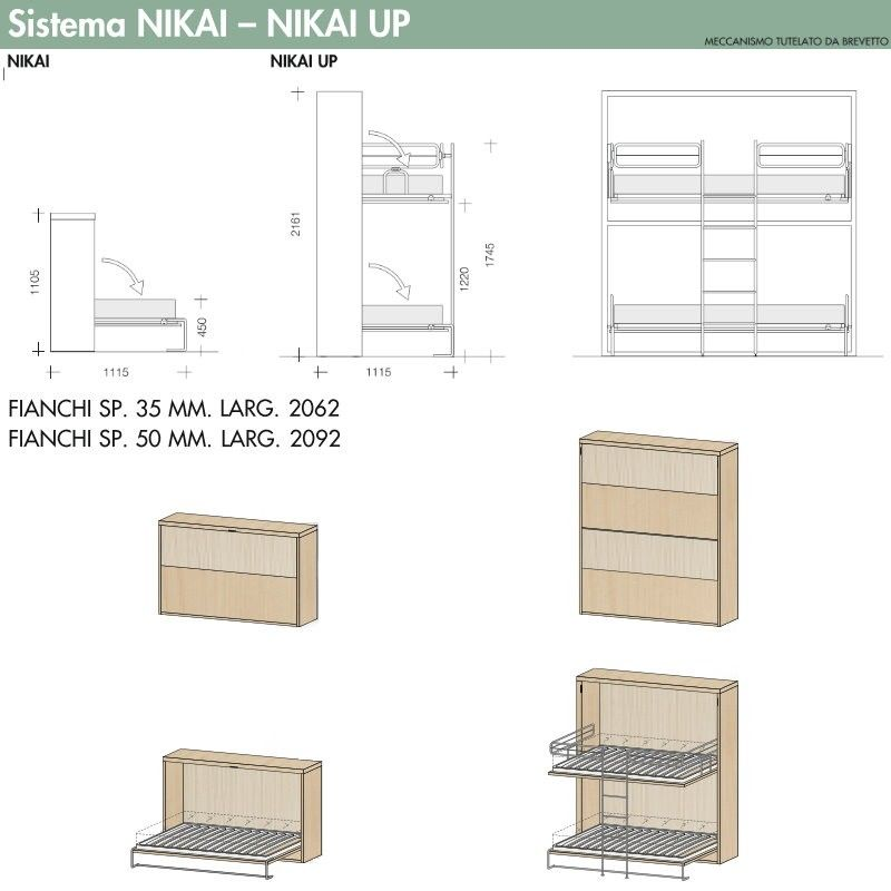 Letto singolo a scomparsa orizzontale Nikai - CLEVER.IT | murphy bed ...