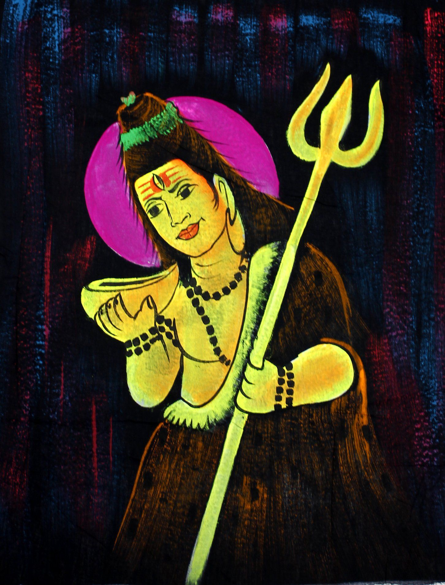 Indian Hindu Lord Shiva Tapestry Deity Art Uv Painting Fabric Wall ...