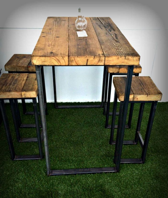 new industrial high table with thick wooden top rustic furniture wooden tops furniture table. Black Bedroom Furniture Sets. Home Design Ideas