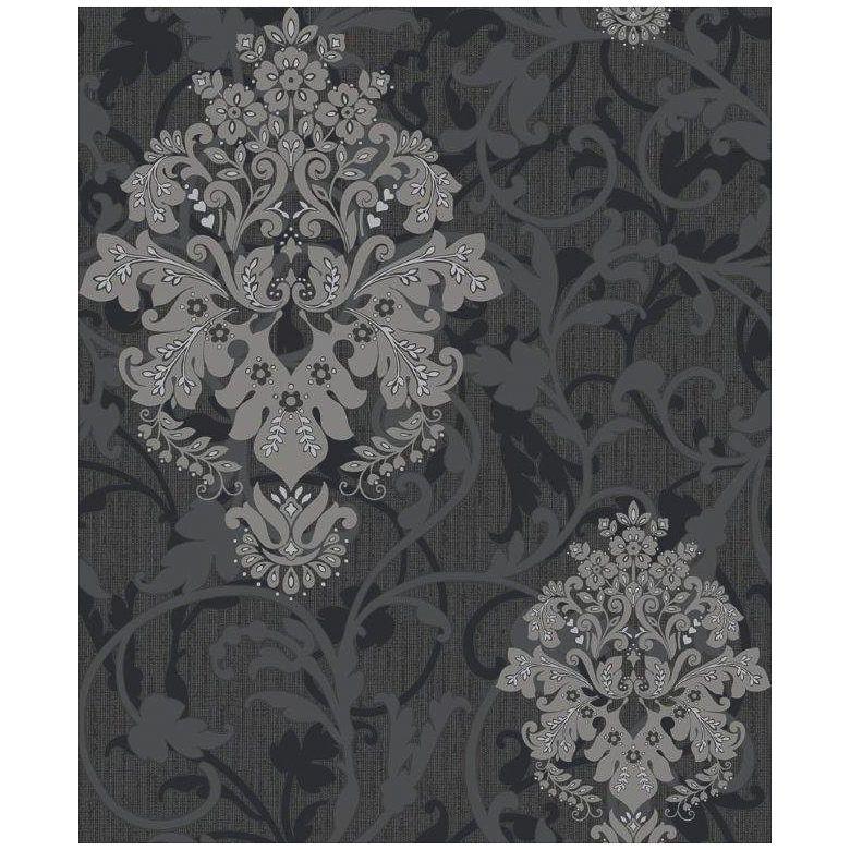 Best Crown Arabesque Black Damask Blown Wallpaper Type Blown Pattern M0552 Colour Black Repeat 64Cm 640 x 480