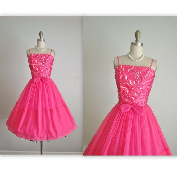 202b0d7fa0 50 s Chiffon Dress    Vintage 1950 s Hot Pink Sequin Satin Chiffon Cocktail  Party Prom Dress S