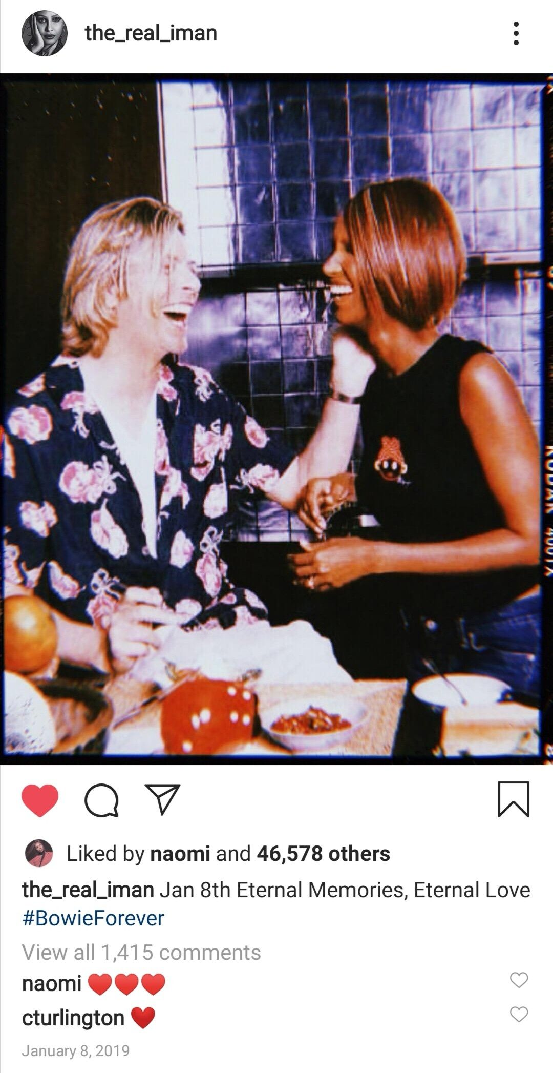 Instagram post by David Bowie's wife Iman in 2020 David