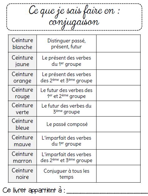 Ceintures de conjugaison Ce2   Conjugaison ce2, Ce1 et ...