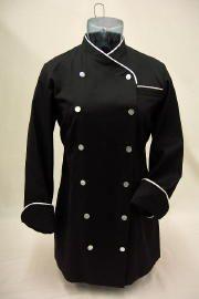 Womens Black Classic Long Sleeve Chef Coat
