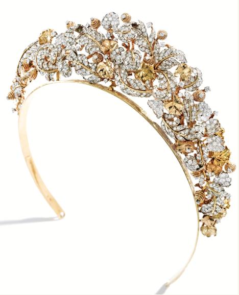 240411975f7b6 18 Karat Gold, Platinum and Diamond Tiara/Necklace, David Webb ...