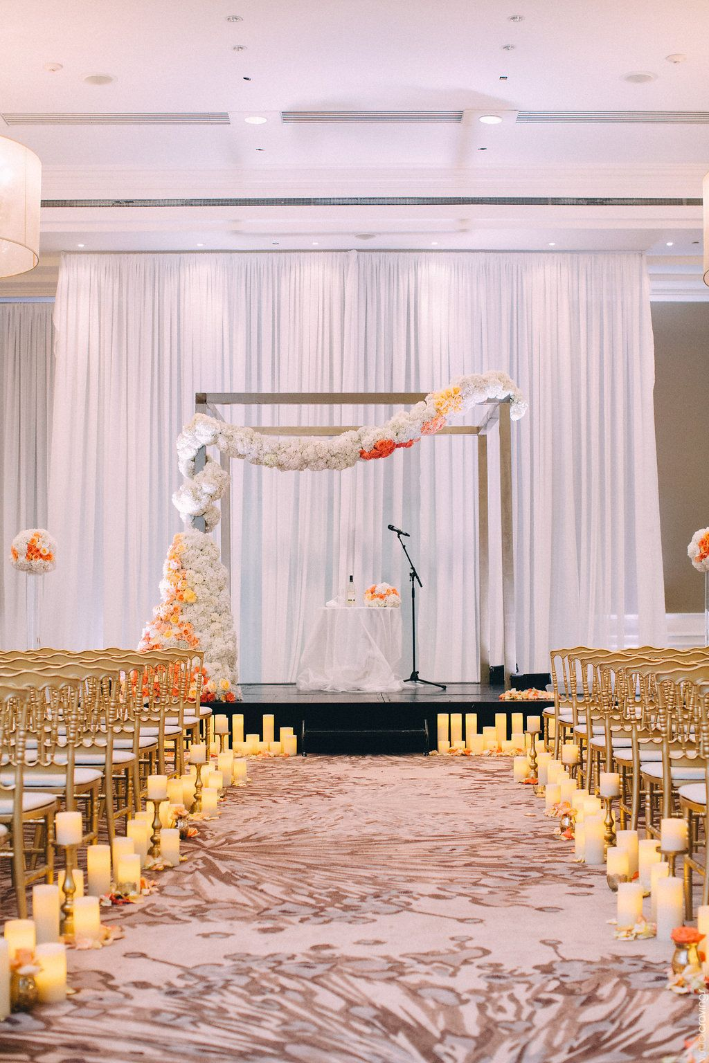Beautiful Ceremony With White Gold And Peach Aisle Lined Candle Impressions Flameless Led Candles Leading Up To Gorgeous Fl Garland
