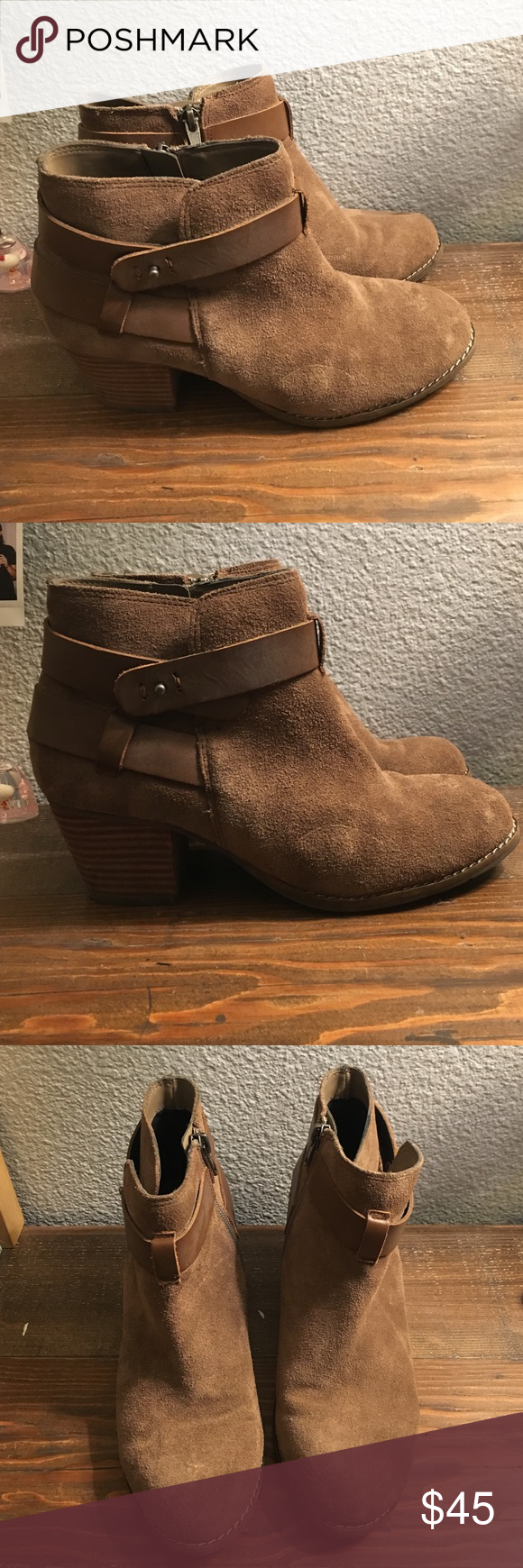 Dolce Vita heeled booties Tan booties with heel and leather strap Dolce Vita Shoes Ankle Boots & Booties