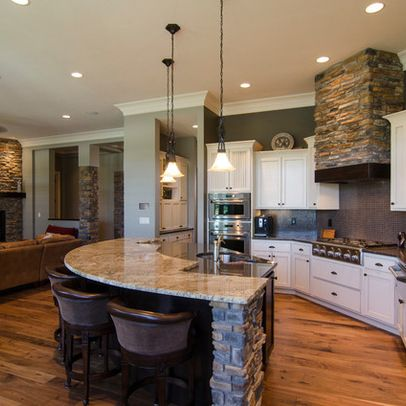 Love The Open Island Area Where People Can Sit And Visit While Still Being Open Concept Kitchen Living Room Kitchen Design Open Living Room And Kitchen Design