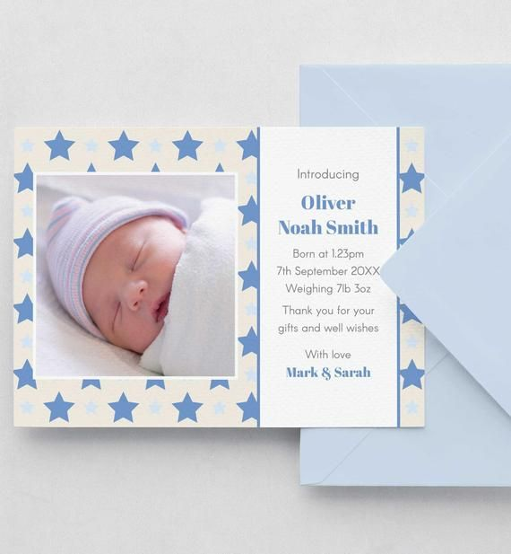 Birth Announcement Card, Editable Template Instant