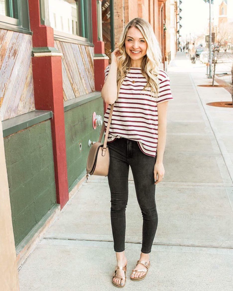 d59f041b5b Striped top    striped tee    stripes    outfit ideas    casual outfits     blonde hair    Spring outfits    Summer outfits    dark grey jeans    Mott  and ...
