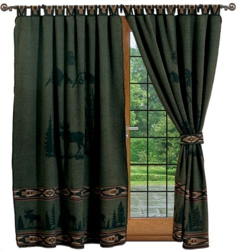 lodge curtains cabin moose hunter green curtains set - Hunter Green Curtains