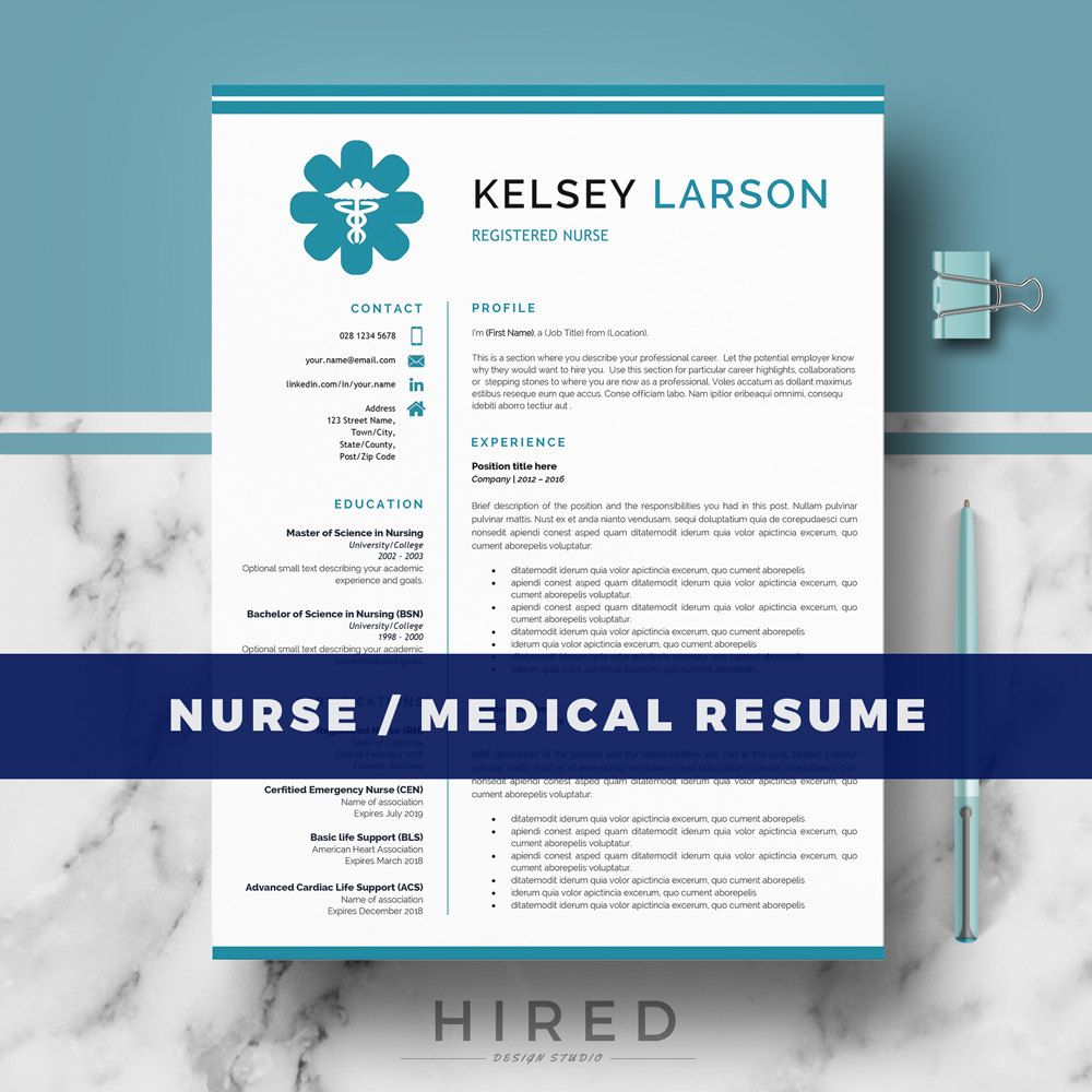 Nurse Resume Template For Word Natalie   Editable  Instant