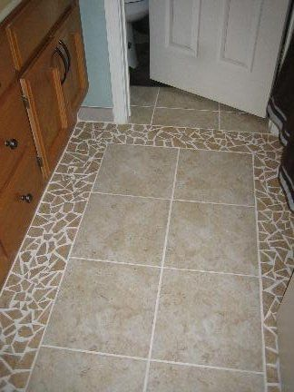 Bathroom Floor - Broken Tile Perimeter - Interior Design Idea In