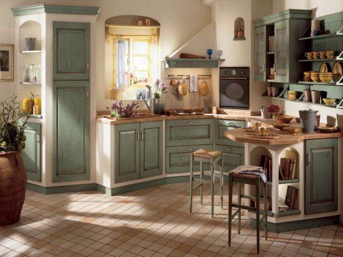 landhausküche kleine bodenfliesen grüne küchenschränke - einbauküchen für kleine küchen