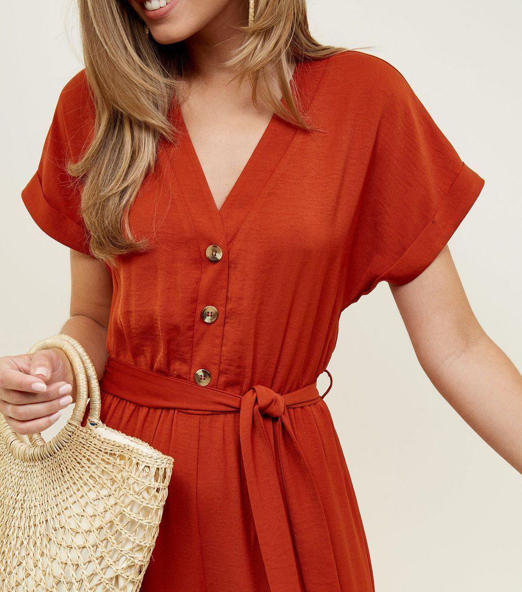 00598655a6 Orange Button Front Linen-Look Jumpsuit