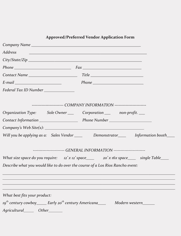 Vendor Registration Form Template Inspirational 9 Printable Blank Vendor Registration Form Templates For In 2020 Registration Form Templates Executive Resume Template