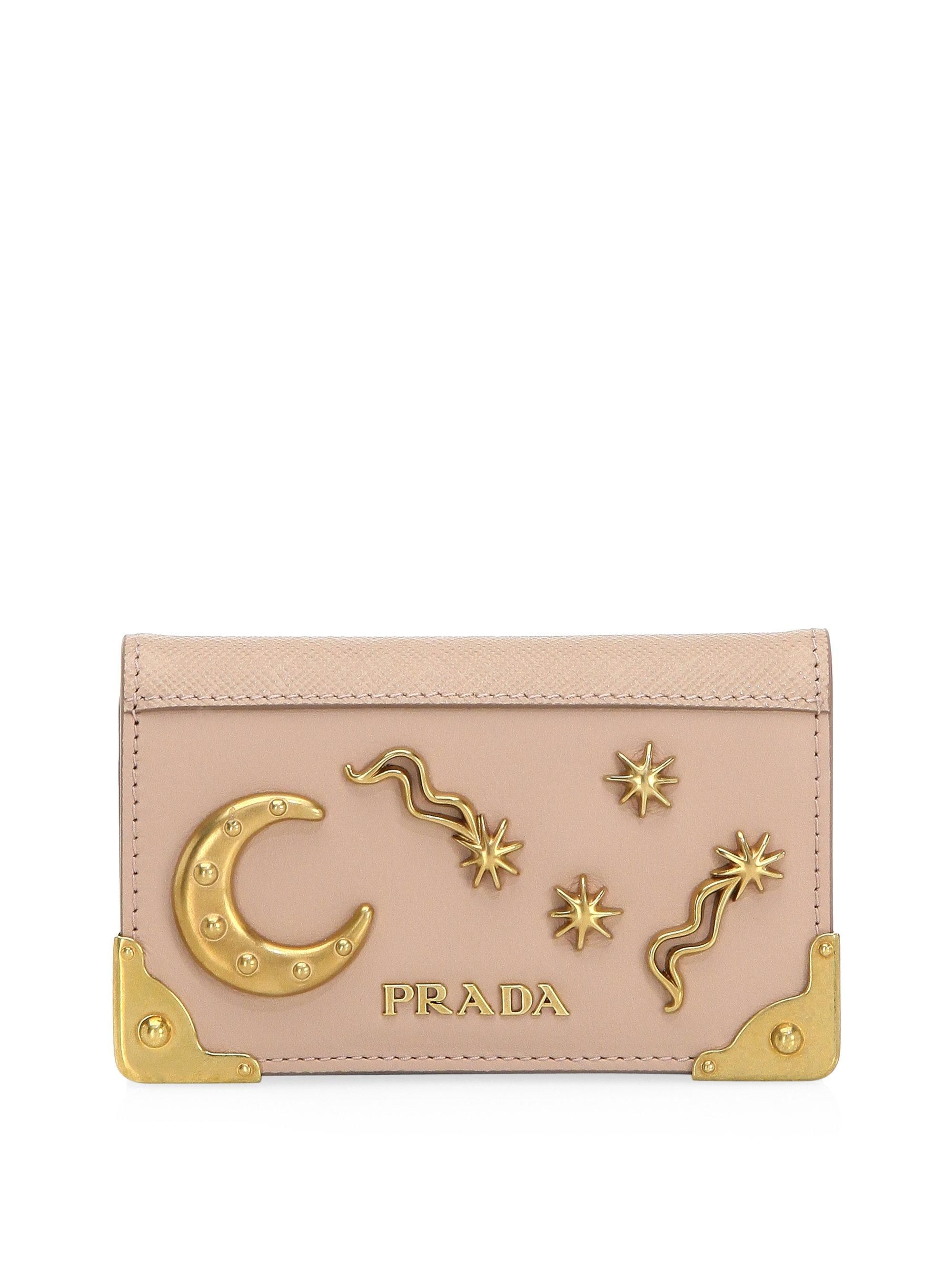 d49c2385b08eb8 Image result for Prada Cahier Leather Card Case with moon and stars ...