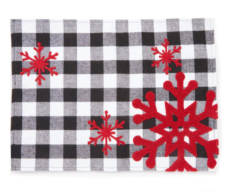 Winter Wonder Lane Buffalo Check With Red Snowflake Placemat Big Lots In 2021 Placemats Snowflake Placemat Christmas Decorations Rustic