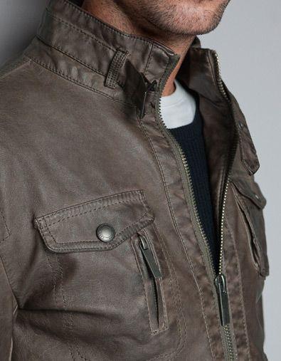 Khaki Pleather Jacket Zara Ropa De Hombre Moda Hombre Ropa