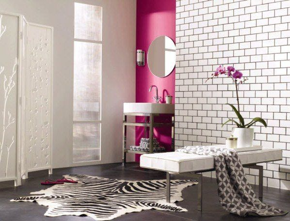 Contemporary Bathroom Design With Light Pink Brick Wall Idea And - Light pink bathroom rugs for bathroom decorating ideas