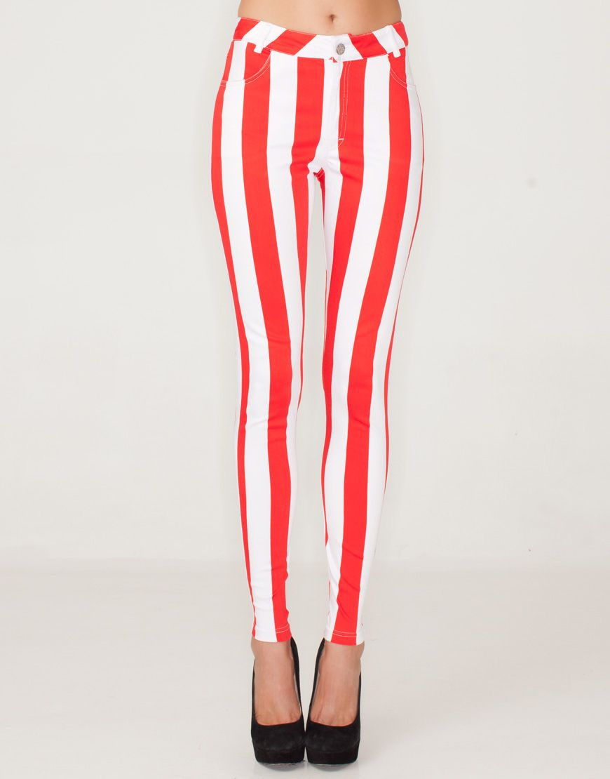 0b572b47f543 Amazing statement stretch skinny jeans in a nautical red and white ...