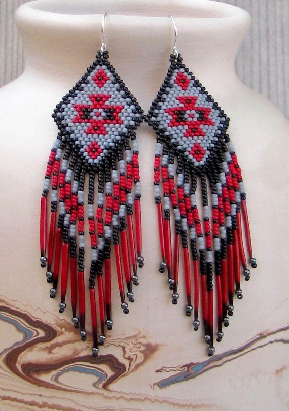 Porcupine Quill Earrings - Seed Bead Fringe - Long Shoulder Duster Earrings - Red Black and Gray Earrings