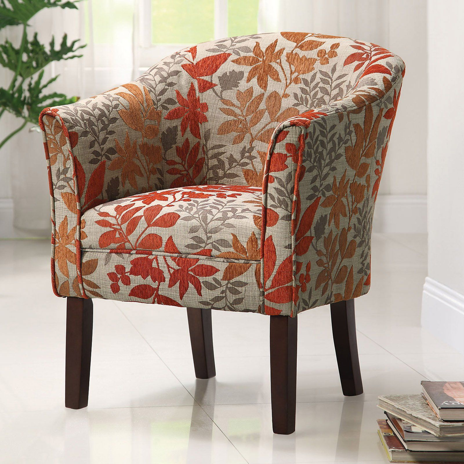 Coaster Furniture Arcadia Barrel Accent Chair   The Orange And Gray Autumn  Leaf Print On This · Living Room ... Part 80