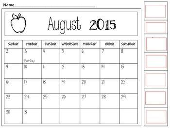 Monthly Behavior Calendar 2015-2016