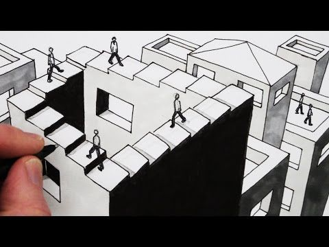 how to draw an optical illusion draw the penrose staircase youtube dise o pinterest. Black Bedroom Furniture Sets. Home Design Ideas