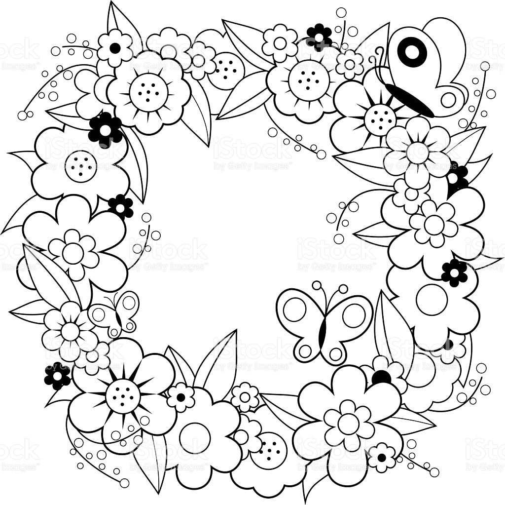 Vector black and white Illustration of a colorful flower wreath