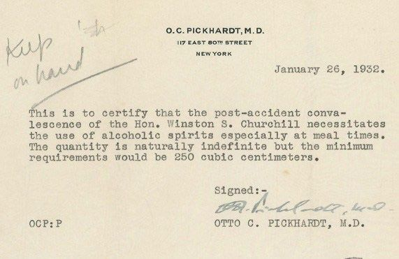 Winston Churchill gets a doctoru0027s note to drink u201cunlimited - doctors note