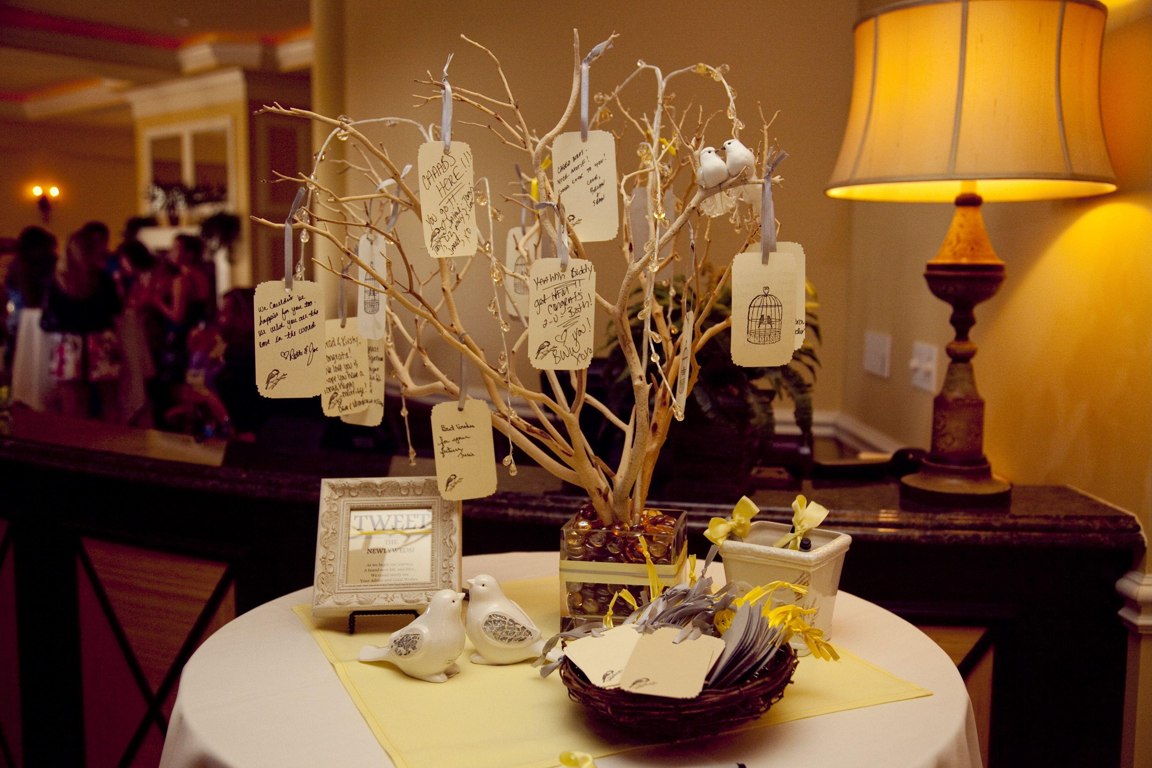 Our wedding wish tree - grey and yellow wedding