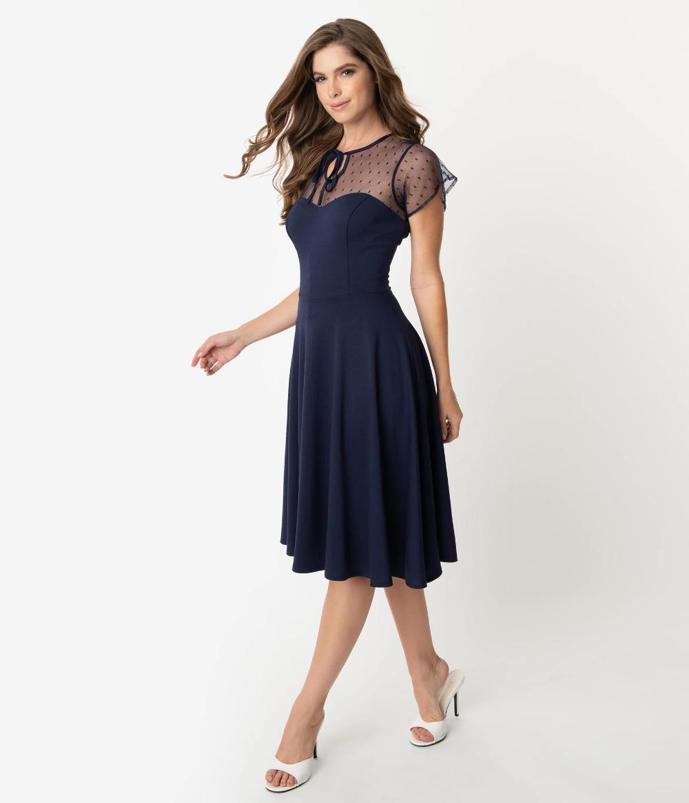 Unique Vintage 1940s Navy Blue Swiss Dotted Mesh Heather Midi Dress #navyblueshortdress