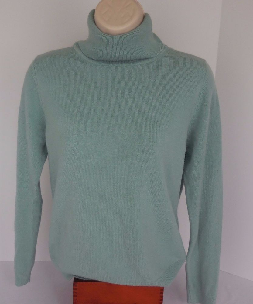 MNC Womens L Mint Green Turtle Neck 100% CASHMERE Sweater #MNC ...