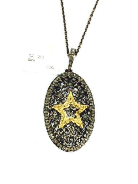 Sterling silver star diamond round pendant necklace diamond sterling silver star diamond round pendant necklace diamond necklace star diamond necklace 925 aloadofball Choice Image