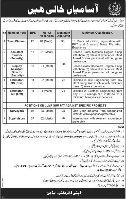 Public Sector Organization JTS Jobs 2018 In Islamabad For Directors