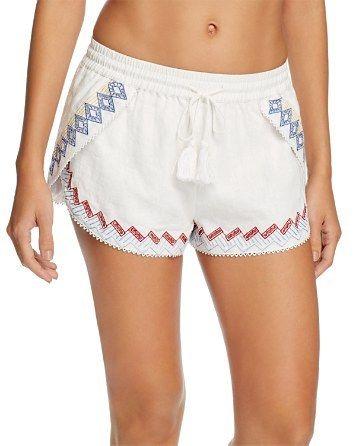 RED CARTER Lemon Embroidered Swim Cover-Up Shorts White  amp  Multi  125  Pick Up fe134efcac