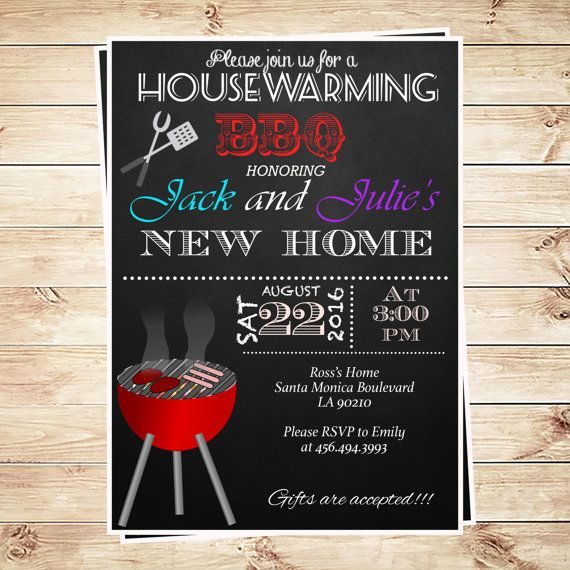 Printable Bbq Party Invitation Templates, Chalkboard #Housewarming