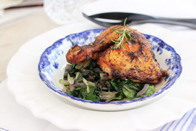 Bavarian Roasted Chicken with Chard