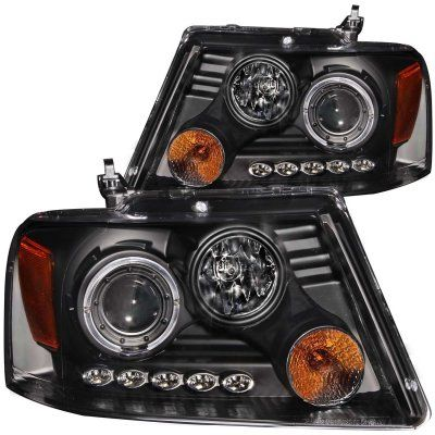 Ford F150 2004 2008 Black Projector Headlights With Dual Halo And Led Ford F150 Projector Headlights F150