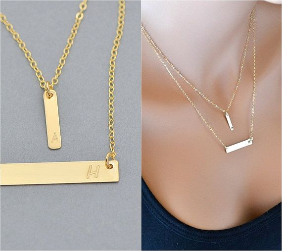 ac95b5160d89b Gold Bar Necklace, Layered Necklace, Personelized Necklace ...