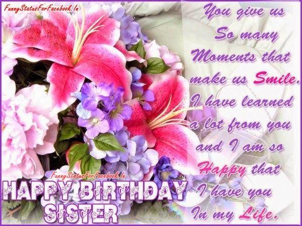 Happy Birthday Sister Best Facebook Status Updates Quotes